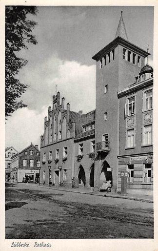 Ansichtkaart Duitsland Lubbecke Rathaus met ESSO benzinepomp Deutschland Europa HC5780