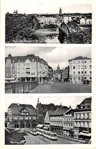 Ansichtkaart Minden i. W. Blick Wesertor Marktplatz Tram Duitsland Deutschland HC5781