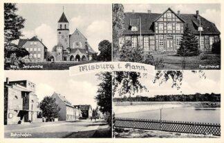 Ansichtkaart Misburg i. Hann Herz Jesukirche Bahnhofstr. Forsthaus Am blauen See Duitsland Deutschland HC5785