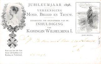 Ansichtkaart Amsterdam Jubileumjaar 1898 Vereeniging Moed, Beleid en Trouw Inhuldiging Koningin Wilhelmina Militair HC5799