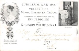 Ansichtkaart Amsterdam Jubileumjaar 1898 Vereeniging Moed, Beleid en Trouw Militair Inhuldiging Koningin Wilhelmina Kleinrondstempel Utrecht-Station Filatelie HC5800