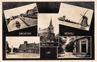 Ansichtkaart Berkel Groeten uit 1953 Klapwijksebrug Gemeentehuis N.H. kerk Molens Koor en Pastorie HC5829
