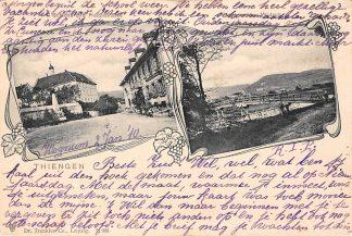 Ansichtkaart Thiengen Schloss und Hauptstrasse 1910 Duitsland Deutschland HC5898