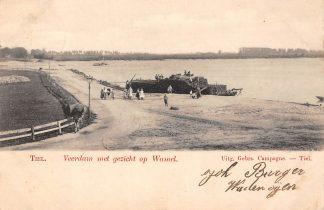 Ansichtkaart Tiel Veerdam met gezicht op Binnenvaart schepen Scheepvaart Veerpont Veer 1903 HC5966