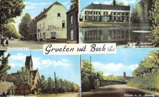 Ansichtkaart Beek (LB) Groet uit 1965  Maastrichterlaan Kasteel Genbroek Carmelitessen klooster en Silhouet Maurits HC5968