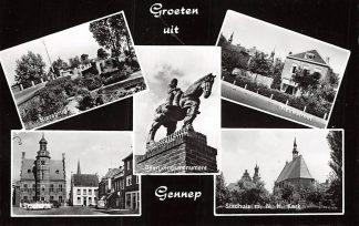 Ansichtkaart Gennep Groeten uit 1964 Niersbrug Stadhuis Bevrijdings monument Nieuwstraat en N.H. Kerk HC5976