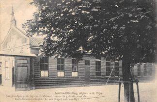 Ansichtkaart Alphen aan den Rijn Martha-Stichting Jongens-Speel- en Gymnastieklokaal tevens in gebruik voor de Godsdienstoefeningen Militair verzonden 1915 HC5993