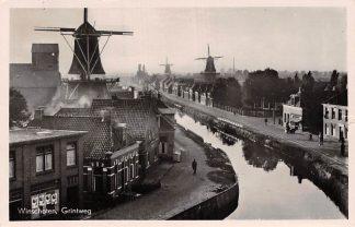 Ansichtkaart Winschoten Grintweg met molen (3x) 1954 HC6008