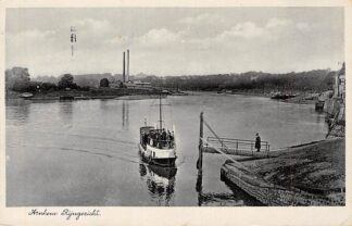 Ansichtkaart Arnhem Rijngezicht met veerpont en steenfabriek 1938 Binnenvaart schepen Veer Pont HC6013