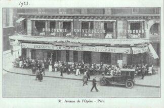 Ansichtkaart Paris Brasserie Universelle Restaurant Avenue de l'Opera Auto 1923 France Frankrijk HC6038