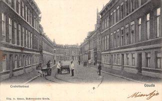 Ansichtkaart Gouda Crabethstraat Hondenkar en Tramrails HC6066