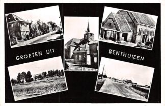 Ansichtkaart Benthuizen Groeten uit 1961 Dorpstraat Kerk Hervormde en Gereformeerde Gemeente Hoogeveenscheweg HC6085