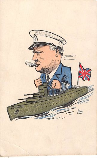 Ansichtkaart WO2 Humor Churchill in marine schip Illustrator Peter Lutz HC6132