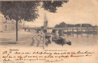 Ansichtkaart Deventer Welle met gezicht op den Ysel Schipbrug Kleinrondstempel Almelo-Apeldoorn Filatelie HC6139