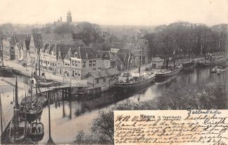 Ansichtkaart Hoorn in Vogelvlucht Binnenvaart schepen Scheepvaart Kleinrondstempel Hoorn 1902 Filatelie HC6140