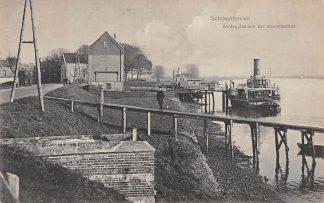 Ansichtkaart Schoonhoven Aanlegplaats der stoombooten Van Nooten Binnenvaartschepen Scheepvaart Reederij op de Lek HC6146