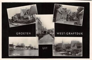 Ansichtkaart West-Graftdijk Groeten uit 1950 Sluiskade Dorpsstraat Café Vislust N.H. kerk HC6154