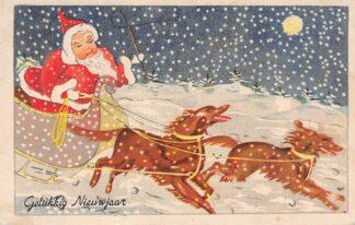 Ansichtkaart Feestdagen De Kerstman in de slee Gelukkig Nieuwjaar 1948 HC6155