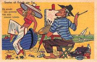 Ansichtkaart Katwijk aan Zee Groeten uit 1950 Humor HC6159