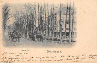 Ansichtkaart Groningen Waterloo Paard en wagen Kleinrondstempel Treinstempel 1900 Filatelie HC6188