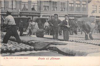 Ansichtkaart Alkmaar Volksleven Kaasmarkt Markt Straatleven 1908 HC6222