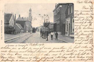 Ansichtkaart Dongen Groeten uit 1900 met stoomtram Tram HC6226