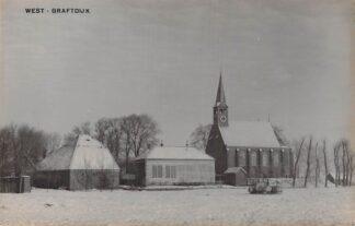 Ansichtkaart West-Graftdijk Fotokaart Ned. Hervormde Kerk in de sneeuw Winter jaren 30 Alkmaar Schermer HC6253