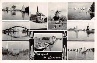 Ansichtkaart Langweer Een groet uit 1956 Molen Zeilen HC6262