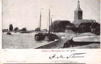 Ansichtkaart Gezicht op Hasselt (OV) Binnenvaart schepen Scheepvaart Kleinrondstempel 1901 Filatelie HC6267