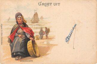 Ansichtkaart Scheveningen Groet uit 1901 Kleinrondstempel Koedijk Filatelie Klederdracht HC6276