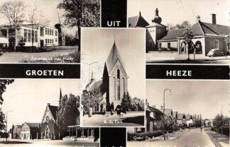 Ansichtkaart Heeze Zuivelfabriek met molen Gemeentehuis Kapelstraat Gebr. de Koning-laan R.K. Kerk HC6287