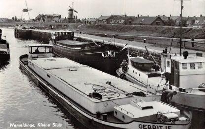 Ansichtkaart Wemeldinge Kleine Sluis Molens Binnenvaart schepen Scheepvaart Gerritje HC6289