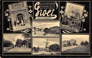 Ansichtkaart Leerdam Groeten uit 1909 Station Molen HC6331