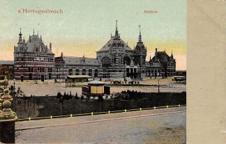 Ansichtkaart 's-Hertogenbosch Station Tram Spoorwegen 1913 HC6360