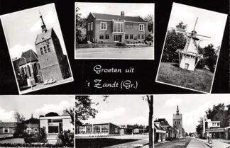 Ansichtkaart 't Zand (GR) Groeten uit Kerk School Benzinepomp Molen HC6363
