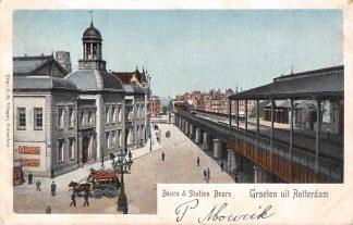 Ansichtkaart Rotterdam Beurs & Station Beurs met Stoomtrein 1903 Spoorwegen Treinen HC6371