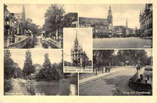 Ansichtkaart Gouda Groeten uit Gouwe Groote Park Markt Brug Tiendeweg HC6390