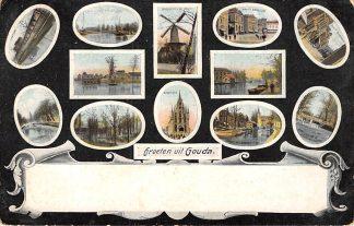 Ansichtkaart Gouda Groeten uit 1908 Station Molen Markt Tiendeweg IJssel HC6392