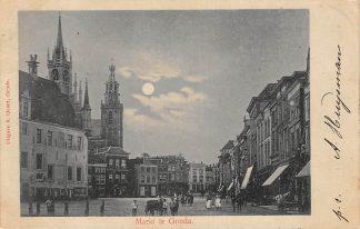 Ansichtkaart Gouda Markt Stadhuis en hondenkar HC6397