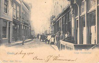 Ansichtkaart Gouda Lange Groenendaal vanaf hoek Naaierstraat Achter de Vischmarkt 1902 Vivat HC6434