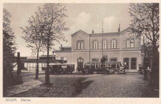 Ansichtkaart Gouda Station met bus en taxi Spoorwegen HC6441