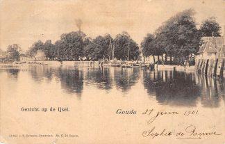 Ansichtkaart Gouda Hollandsche IJssel Tolhuis Binnenvaart schepen Scheepvaart 1901 Filatelie HC6448