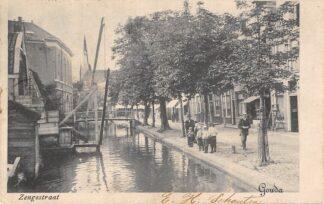Ansichtkaart Gouda Zeugstraat Visser R.K. Kleiwegkerk 1900 HC6452