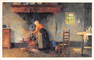 Ansichtkaart Noord-Brabant Dorpsleven Brabantsch Binnenhuis Koffie zetten HC6473