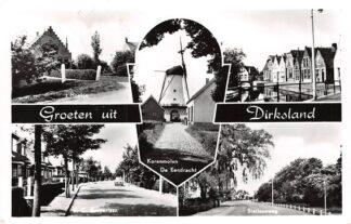 Ansichtkaart Dirksland Groeten uit 1963 Molen De Eendracht 't Hoekje Ring Stationsweg C. Zaayerlaan Goeree-Overflakkee HC6482