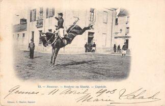 Ansichtkaart Saumur 1902 Sauteur en Liberte Capriole Ruiter te paard Militair Frankrijk France HC6503
