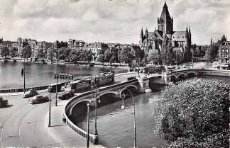 Ansichtkaart Amsterdam Amstelbrug met St. Willebrordus kerk Tram Auto HC6506
