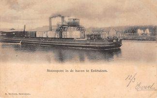 Ansichtkaart Enkhuizen Stoompont in de haven te Enkhuizen met trein Spoorwegen Binnenvaart schepen Scheepvaart Stavoren Kleinrondstempel Filatelie 1901 HC6516
