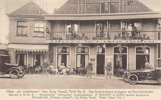 Ansichtkaart Den Burg Texel Hotel de Lindeboom Garage A.N.W.B. Bonds hotel Verhuur Auto ReclameHC6521