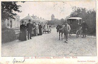 Ansichtkaart Kollumerzwaag Kerkbuurt Hervormde Kerk Paard en wagen Onder Dokkum Friesland HC6540